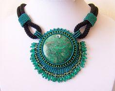 Bead Embroidery Necklace Pendant Beadwork with Green por lutita, $125.00