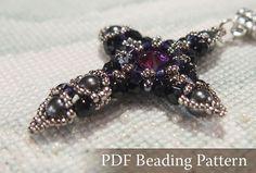 Beading tutorial Crystal Cross Pendant Beadwork by DiasJewelryShop