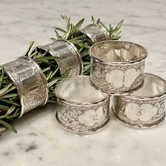 Numbered Victorian silver napkin rings 1897 - Decorative Collective Antiques Online, Selling Antiques, One Hyde Park, Luxury Brand Names, Study Interior Design, Silver Napkin Rings, Candy Brands, Inspirational Gifts