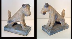 Denby, Danesby Ware Dog Bookends, 1930s. Designed by Donald Gilbert. The animals from the Danesby collection were more naturalistic than some of later additions. Unfortunately it is common to see this particular model with damage to to the tail.