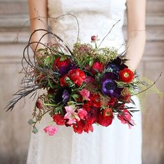 Unusual and creative bridal bouquetby  exquisite designs and diana marie photo #weddings #red #bouquet #unique