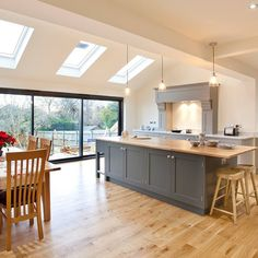 The first major project was a single storey rear extension to create an open plan family room. It was finished at the end of last year so I… Open Plan Kitchen Dining Living, Open Plan Kitchen Diner, Open Plan Living, Living Room Kitchen, Dining Room, Single Storey Extension, Rear Extension, Extension Ideas, Bungalow Extensions