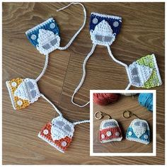 Ravelry flo s campervan keyring and bunting pattern by sarah jane hicks – Artofit Crochet Keyring Free Pattern, Crochet Bunting Free Pattern, Crochet Keychain, Crochet Bookmarks, Crochet Motif, Crochet Patterns, Crochet Ideas, Crochet Gifts, Crochet Toys