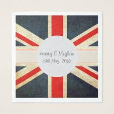 Harry and Meghan Royal Wedding UK Flag Napkins - wedding decor marriage design diy cyo party idea The Wedding Date, Gifts For Wedding Party, Party Gifts, Wedding Decor, Union Jack, Royal Wedding Themes, Royal Weddings, Wedding Cocktail Napkins, Monogrammed Napkins