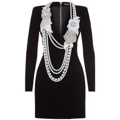 Balmain Pearl Necklace-Embellished Velvet Dress (€2.930) ❤ liked on Polyvore featuring dresses, plunging neckline dress, loose fitting dresses, military dress, mini dress and velvet cocktail dresses
