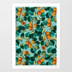 Peach and Leaf Pattern Art Print