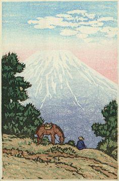 Hanga galerie. . . Torii galerie: Mann und Pferd in der Nähe von Mt. Fuji von Kawase Hasui
