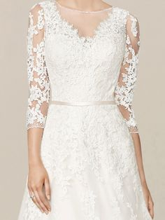 Discover latest vintage lace wedding dresses with sleeves for the big day online! Boat Neck Wedding Dress, Lace Wedding Dress With Sleeves, Dresses With Sleeves, Stunning Wedding Dresses, Modest Wedding Dresses, Wedding Party Dresses, Vintage Lace Weddings, A Line Gown, Bridal Style