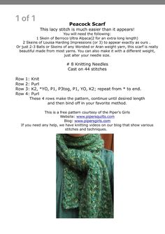 Clothing Patterns, Knitting Patterns, Crochet Patterns, Scarf Patterns, Knitting Ideas, Knit Or Crochet, Crochet Scarves, Scarf Knit, Yarn Weight Chart