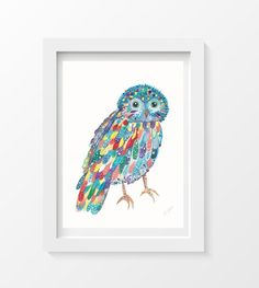 Hey, I found this really awesome Etsy listing at https://www.etsy.com/listing/169333131/happy-owl-colorful-owl-watercolor