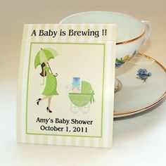 25 Mod Mom Baby Shower Teabag Favors Green by 4alloccasionfavors, $15.00