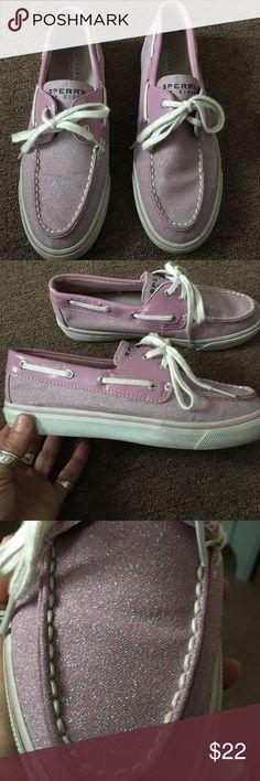 Super cute Sperrys Super cute Sperrys, like a light lilac purple..glittery.. So cute on!!!! Gently worn.. In great shape!!😊👍 Sperry Top-Sider Shoes Flats & Loafers