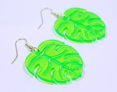 Perspex Palm Leaf Earrings by ILoveCrafty on Etsy