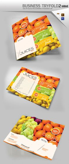 Juice Shop Tri Fold Brochure Template PSD, Vector EPS, AI Illustrator