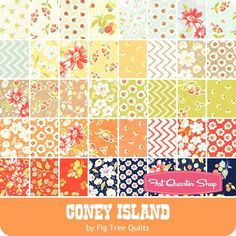 "Coney Island Charm Pack  Fig Tree Quilts for Moda Fabrics  - Charm Packs & 5"" Squares  
