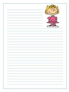 Imprimir gratis papel infantil para niños de cartas de Sally en Snoopy