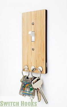 Light switch plate and key hook