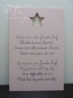 Tekstbord Fries/Frysk - Sliep mar sêft... - Styl*Shop - Mooie (Fryske) woonaccessoires en (Friese) tekstborden vind je bij Styl*Shop - jouw online webwinkel!