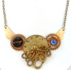 Deep Sea Wishes...Brass Octopus Metal CollageAssemblage Necklace