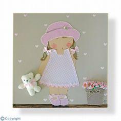 Cuadro infantil personalizado: Niña con sombrero (ref. 12009-10)