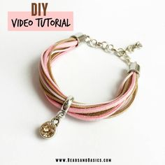 Video Tutorial Materials for this waxcord, suede, swarovski pink bracelet at www.BeadsandBasic...