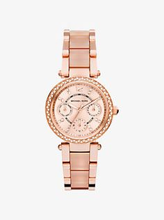 Mini Parker Rose Gold-Tone and Blush Acetate Watch by Michael Kors