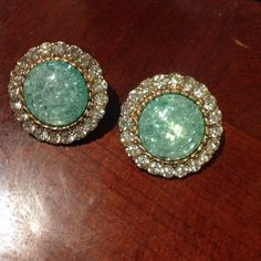 Mint Green Statement Earrings Used in great condition, only sign wear is on back of earrings, however not noticeable while worn Jewelry Earrings