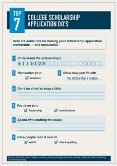 Top 7 College Scholarship Application Do's...hopefully this will work for grad school too!