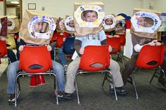 "make your own ""Astronaut helmets"" in class for a dramatic play center! :)"