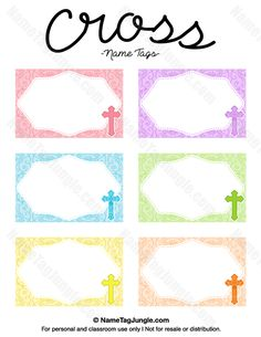 Free printable cross name tags. The template can also be used for creating items like labels and place cards. Download the PDF at http://nametagjungle.com/name-tag/cross/