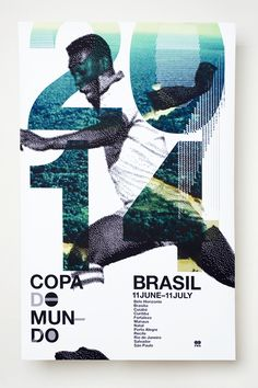 Awesome poster series for the 2014 World Cup in Brasil. I love the integration of the player's photo, the photo in the numbers and the numeric design, even the design of the text works well because it is simple and contrasts with the artwork Gfx Design, Flyer Design, Design Art, Print Design, Graphic Design Posters, Graphic Design Typography, Graphic Design Inspiration, Corporate Design, Design Editorial