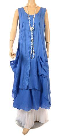 Completo Lino Prettiest Blue Cotton Double Layered Dress - Summer 2013