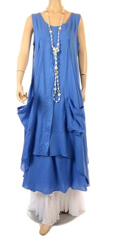 Completo Lino Prettiest Blue Cotton Double Layered Dress - Summer 2013