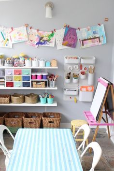 Let These Before-and-After Playroom Photos Inspire You to Transform Your Space Creative ways to transform your kids playroom into the coolest spot in the house where they could explore their creativity! Playroom Design, Kids Room Design, Kid Playroom, Playroom Decor, Kids Basement, Playroom For Toddlers, Little Girls Playroom, Playroom Shelves, Children Playroom