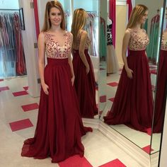 DIYouth Full-length Red Chiffon Illusion Neck Floral Evening Prom Dress