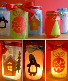 Your little ones can light up the night with Christmas cheer and the merry symbols of winter with Your Favorite Christmas Lanterns. These darling mason jar crafts double as treat containers and luminaries. Easy Crafts For Kids, Christmas Crafts For Kids, Christmas Activities, Craft Activities, Holiday Crafts, Holiday Fun, Christmas Holidays, Christmas Gifts, Christmas Mason Jars