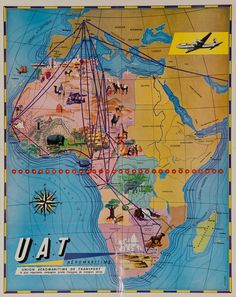 1950s UAT travel route Africa vintage poster