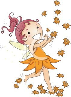iCLIPART - Royalty Free Clipart Image of a Fairy and Autumn Leaves