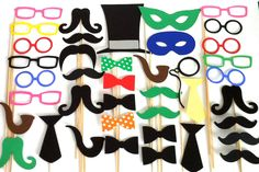 40 Wedding Photo Both Props XXL Large Party Pack of 40 Wedding Photo Booth Props Party Decorations Party Supplies Masks Glasses Mustache. $46.00, via Etsy.