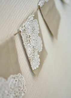 banner is by Ravenhill.  Idea: Doilies - put it with linen. Make chair arm and head protectors.