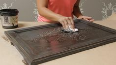 Buy the stencil and supplies here: http://www.royaldesignstudio.com/blogs/stenciling-tips/diy-raised-carved-wood-furniture-stencils . Learn how to stencil wi...