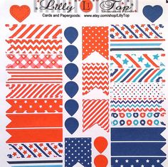 4th of July Flags and Drops Quarter Box Flag Fits Erin Condren Planner Stickers Kiss Cut Life Planner Stickers Scrapbook America (3.99 USD) by LillyTop