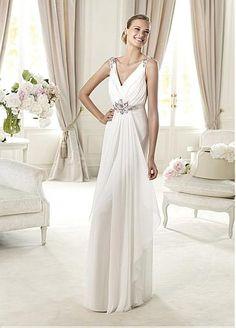 Elegant Chiffon & Satin Sheath V-neck Neckline Natural Waist Wedding Dress