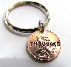 Hand Stamped Penny For Your Thoughts Key Chain Charm Custom Name Lucky. $10.00, via Etsy.