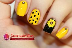 Uñas decoradas con Girasol - video paso a paso - http://xn--decorandouas-jhb.com/unas-decoradas-con-girasol-video-paso-a-paso/