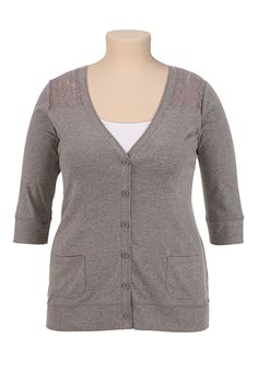 3/4 Sleeve Lace Shoulder Button Front Cardigan available at #Maurices