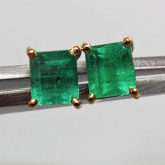 AAA+ Quality 1.00ct Emerald-Cut Columbian Small Emerald Stud Earrings 18K Gold