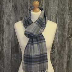 Color: Light Grey Plaid with dark grey, royal blue and pale blue. Long stylish scarf