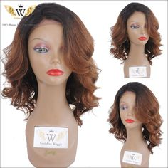 Find More Human Wigs Information about 5A 150 density short wavy full lace human hair wig ombre bob wig virgin  hair brazilian…