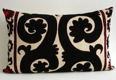 suzani pillow in black and white